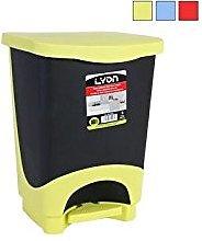 LYON Cubo Basura con Tapa y con Pedal, Multicolor,