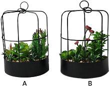 Maceta colgante en forma de media jaula con flores