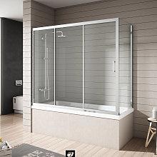 Mampara bañera Nantes, Cromo/Transparente (1fija,