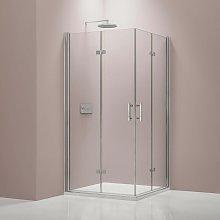 Mampara de ducha con puerta plegable de cristal