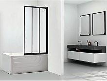 Mampara para bañera DOLANE - 80x140 cm - negro