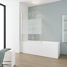 Mampara para bañera plegable, 112 x 140 cm,