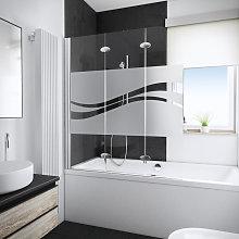 Mampara para bañera plegable, 125 x 140 cm,