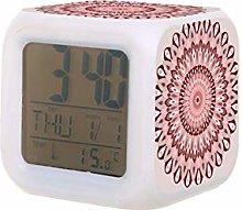 Mandala rosa y gris LED reloj despertador digital
