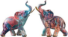Mankvis Escultura De Estatua De Elefante Pintado,
