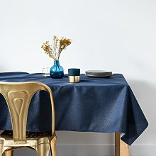 Mantel azul noche y dorado 145x350