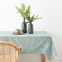 Mantel de algodón ecológico verde y crudo 140x250