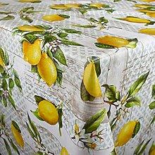 Mantel de hule Kevkus, 160 cm de ancho, limones