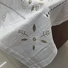 Mantel de Lino de algodón con Flores Bordadas a