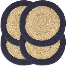 Mantel individual 4 uds redondo yute y algodón