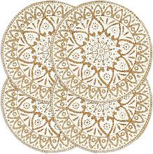 Mantel individual 4 unidades redondo yute blanco