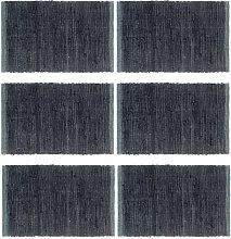 Mantel individual 6 uds Chindi liso algodón