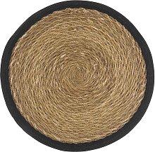 Mantel individual redondo de yute negro