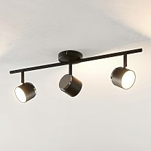 Marrie foco LED, negro, 3 luces, barra - Lindby