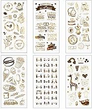 Matogle 6 pegatinas de álbum de recortes de oro