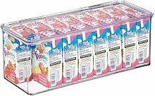 mDesign Caja de plástico con tapa – Caja de