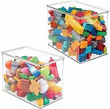 mDesign Juego de 2 cajas de almacenaje con tapa