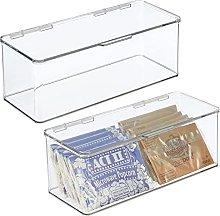 mDesign Juego de 2 cajas de plástico con tapa –
