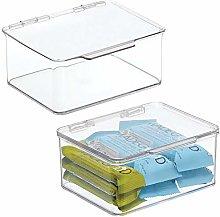 mDesign Juego de 2 cajas de plástico sin BPA con