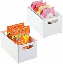 mDesign Juego de 2 cajas organizadoras con asas