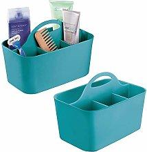 mDesign Juego de 2 cestas de baño con asa –