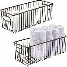 mDesign Juego de 2 cestas de metal con asas