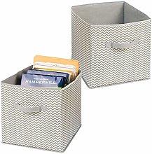 mDesign Juego de 2 cestas de Tela con Asas –