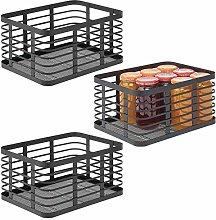 mDesign Juego de 3 cajas multiusos de metal para
