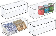 mDesign Juego de 4 cajas de plástico con tapa –