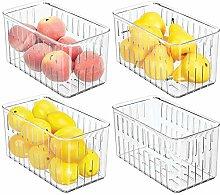 mDesign Juego de 4 cajas plásticas organizadoras