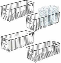 mDesign Juego de 4 cestas de metal con asas