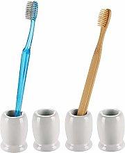 mDesign Juego de 4 vasos para cepillos de dientes