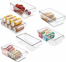 mDesign Juego de 6 cajas de almacenaje para nevera