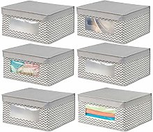 mDesign Juego de 6 cajas de tela apilables para