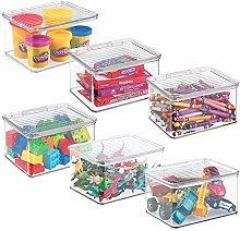 mDesign Práctico organizador de juguetes con tapa