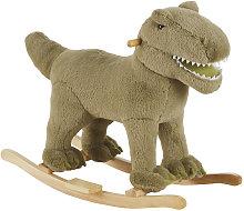 Mecedora dinosaurio verde con patas de álamo