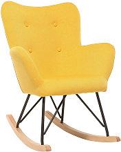 Mecedora diseño tejido amarillo patas metal y