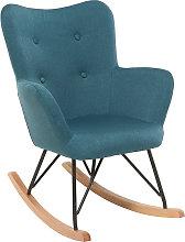 Mecedora diseño tejido azul patas metal y roble