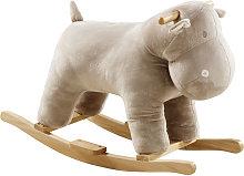 Mecedora hipopótamo beige con patas de álamo