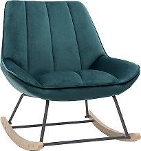 Mecedora moderna en tejido efecto terciopelo azul