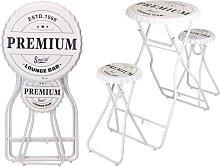 Mesa alta de bar plegable con taburetes blanco -