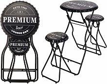 Mesa alta de bar plegable con taburetes negro -