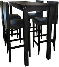 Mesa alta de cocina con 4 sillas de barra negras -