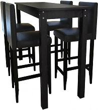 Mesa alta de cocina con 4 sillas de barra negras