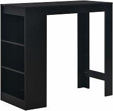 Mesa alta de cocina con estanteria negra