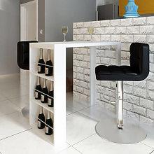 Mesa alta de cocina con estantes para botellas