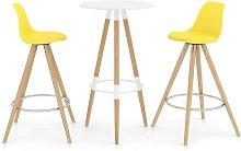 Mesa alta y taburetes de bar 3 piezas amarillo -