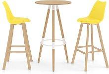 Mesa alta y taburetes de bar 3 piezas amarillo