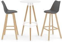 Mesa alta y taburetes de bar 3 piezas gris - Gris