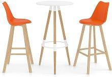 Mesa alta y taburetes de bar 3 piezas naranja -